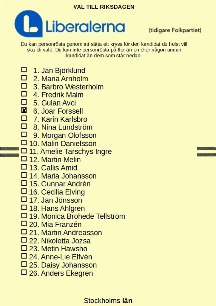 Valsedel för Liberalerna i Stockholms läns valkrets med 6. Joar Forssell kryssad