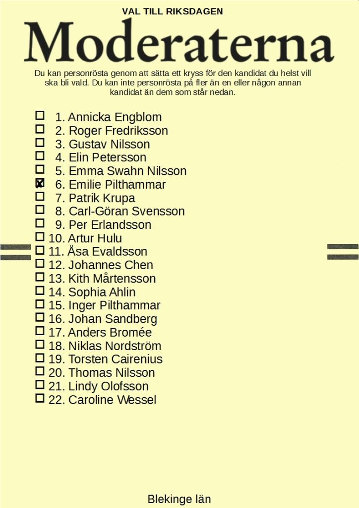 Riksdagsvalsedel för Moderaterna i Blekinge län med Emilie Pilthammar kryssad