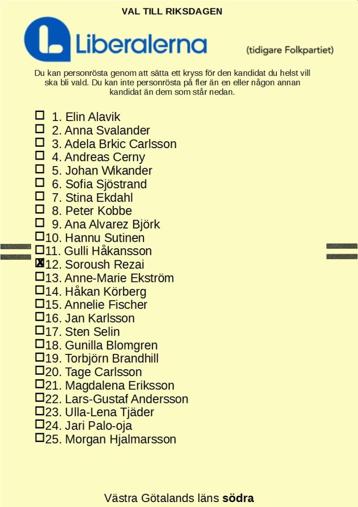 Liberalernas riksdagsvalsedel för Västra Götalands läns södra valkrets, med 12. Soroush Rezai kryssad