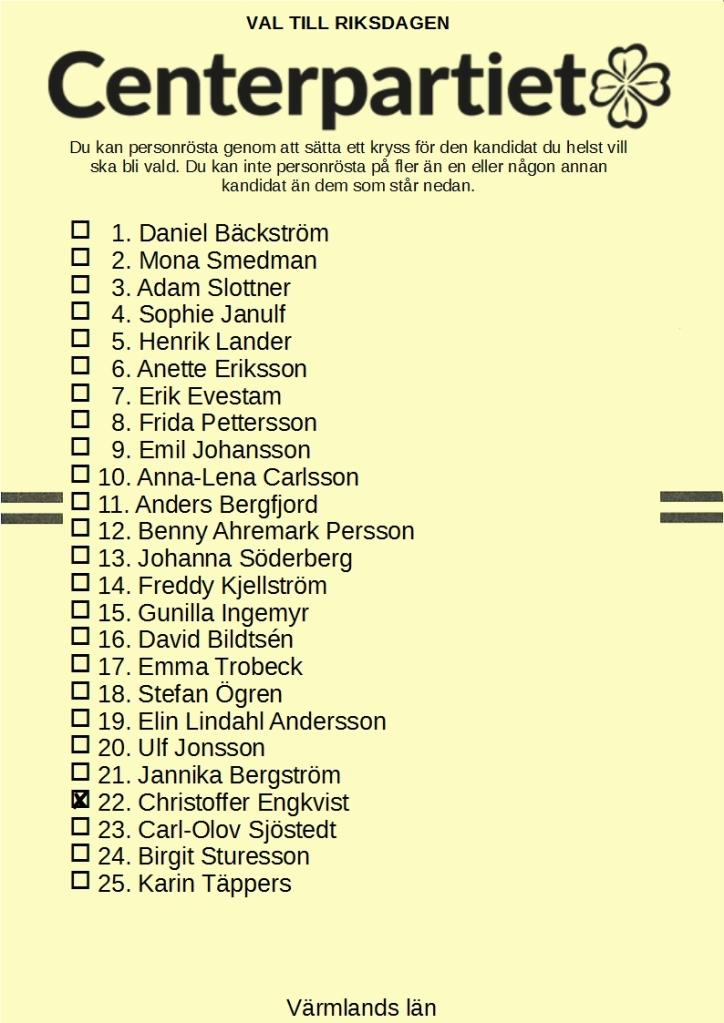 Valsedel för Centerpartiet i Värmlands läns valkrets, med Christoffer Engkvist kryssad