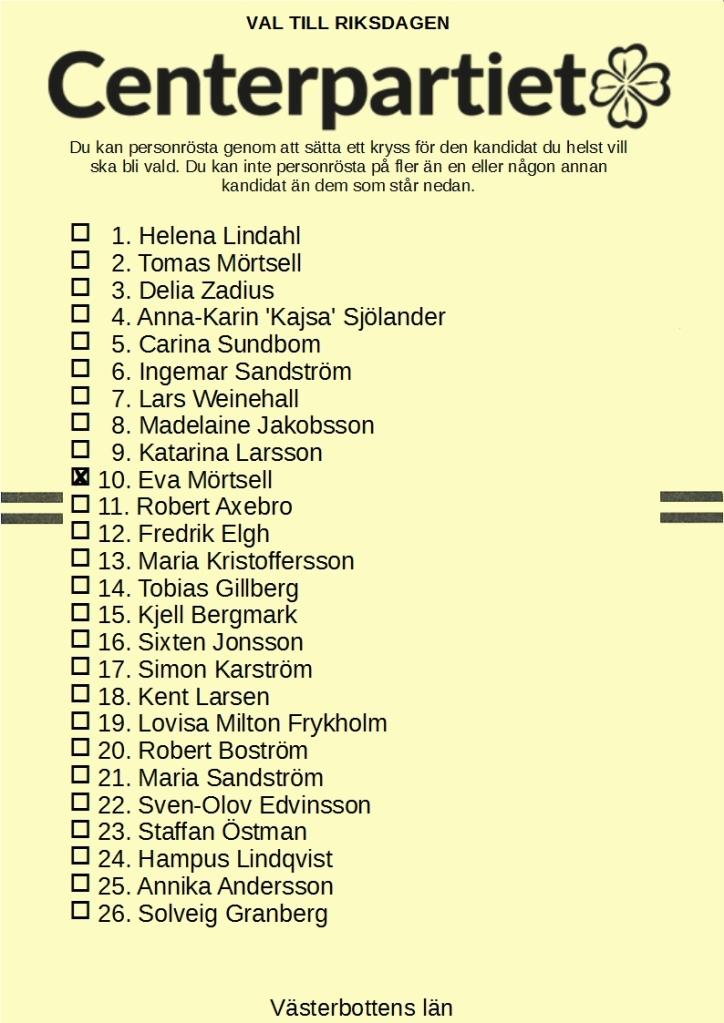 Centerpartiets riksdagslista för Västerbotten med kandidat no 10 Eva Mörtsell kryssad