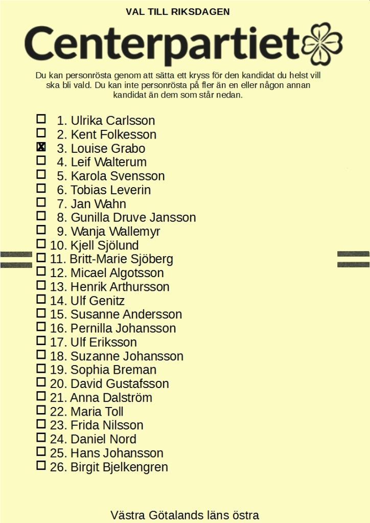Valsedel för Centerpartiet i Västra Götalands läns östra valkrets med 3. Louise Grabo kryssad