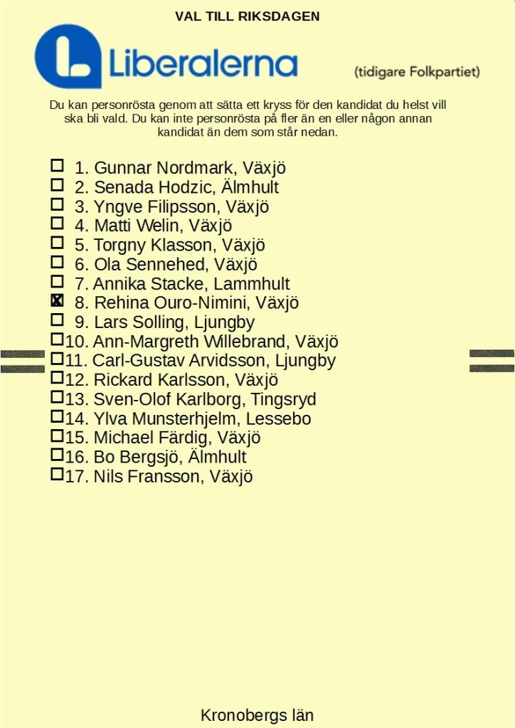 Liberalernas riksdagsvalsedel i Kronobergs län med nummer 8. Rehina Ouro-Nimini kryssad