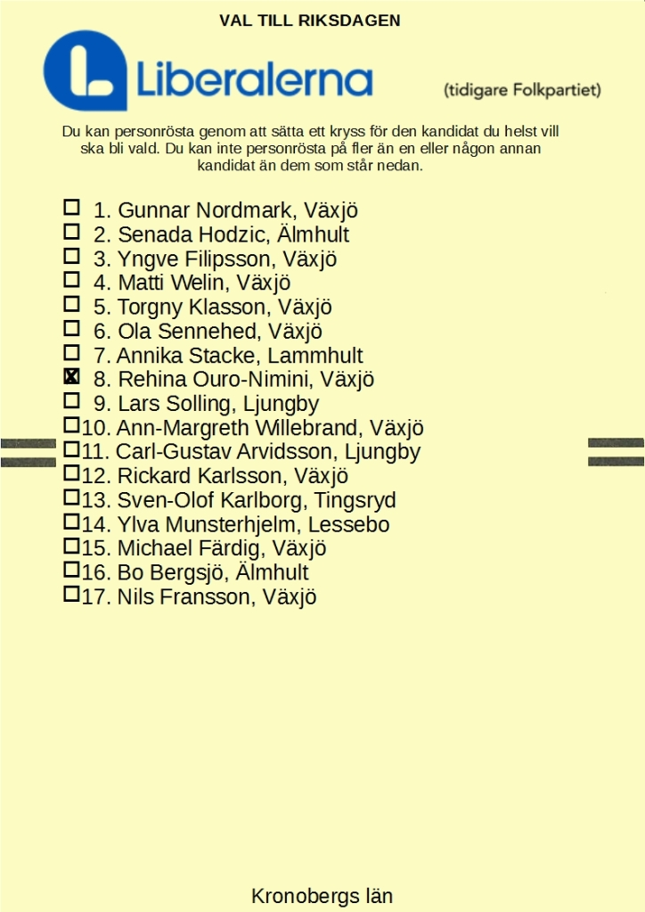 Valsedel förLiberalerna i Kronobergs län med 8. Rehina Ouro-Nimini kryssad
