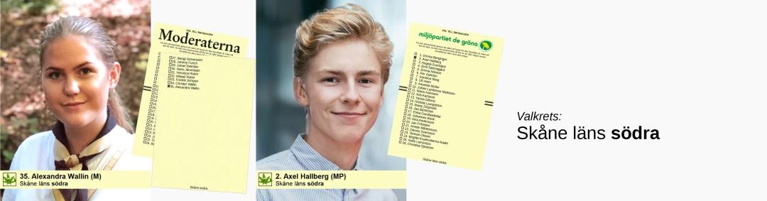 Alexandra Wallin (M) och Axel Hallberg (MP) i Skåne läns södra valkrets