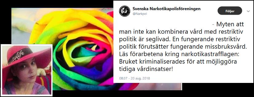 Linda Ninni Andersson och Svenska Narkotikapolisföreningens tweet