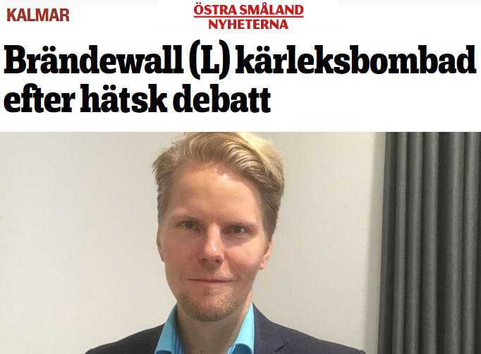 Artikel hos Östra Småland: Björn Brändewall (L) kärleksbombad efter hätsk debatt om cannabis