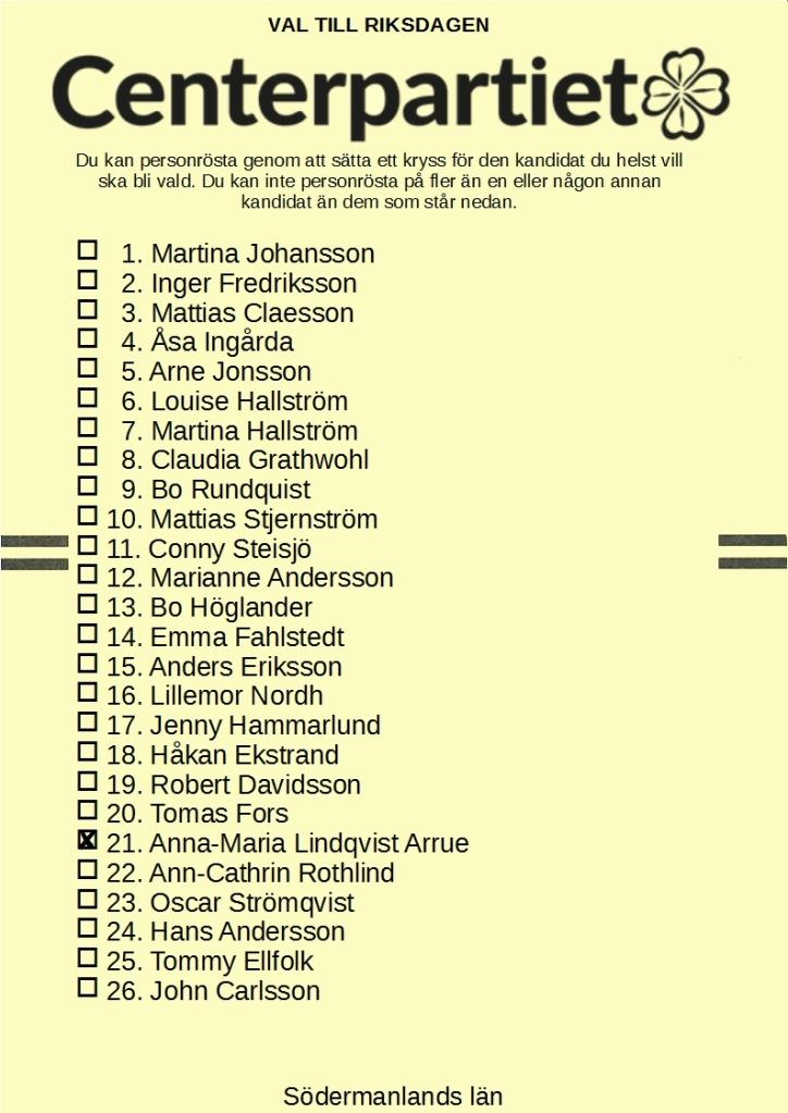 Riksdagsvalsedel för Centerpartiet i Södermanlands läns valkrets med 21. Anna-Maria Lindqvist Arrue kryssad