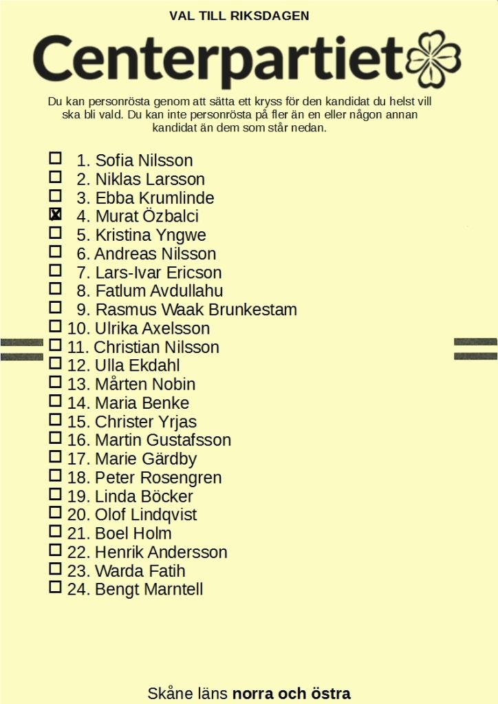Riksdagsvalsedel för Centerpartiet i Skåne läns norra och östra valkrets med 4. Murat Özbalci kryssad