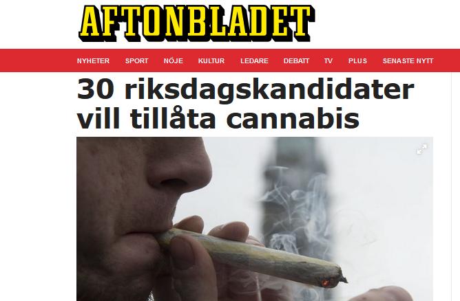 Aftonbladet: 30 riksdagskandidater vill tillåta cannabis