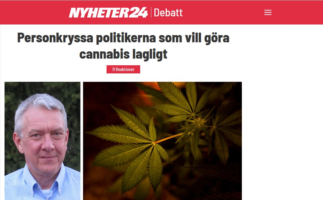 Debattartikel hos Nyheter24 - Personkryssa politikerna som vill göra cannabis lagligt