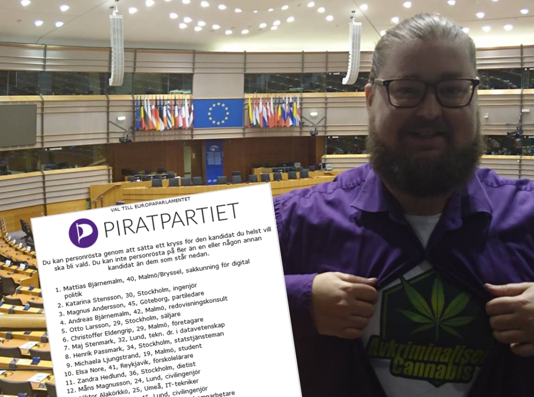 Otto Larsson, Piratpartiet, i EU-parlamentet med en t-shirt med trycket Avkriminalisera Cannabis
